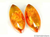 Marquise cabochons in amber