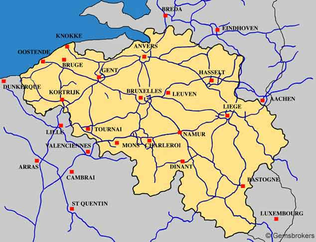 Belgium highways map